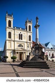 Banska Bystrica, Slovakia - august 07, 2015: St. Francis Xavier Cathedral on main square in Banska Bystrica, Slovakia