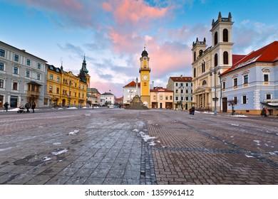 Banska Bystrica, Slovakia – January 16, 2016: Main square in Banska Bystrica, central Slovakia.