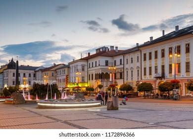 Banska Bystrica, Slovakia – July 19, 2018: Main square in Banska Bystrica, central Slovakia.