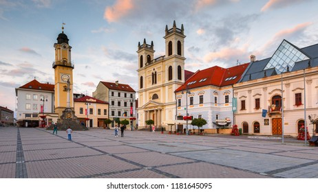 Banska Bystrica, Slovakia – July 19, 2018: People in the main square of Banska Bystrica on a summer evening.