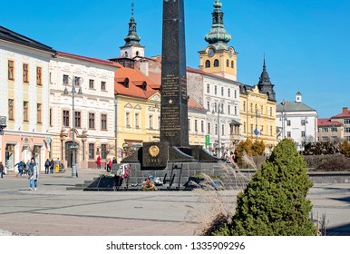 Banska Bystrica, Slovakia - March 1, 2019: Main square of Slovak National Uprising in Banska Bystrica, central Slovakia, Europe.View on city castle and towers on main square in Banska Bystrica.