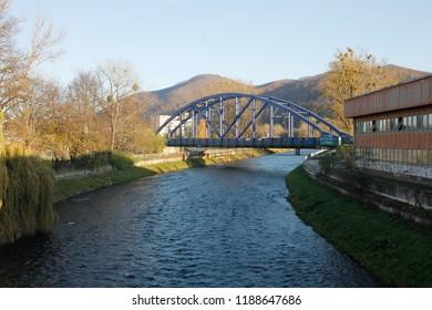 Banska Bystrica, Slovakia. November 4, 2017. Bridge across Hron river in Banska Bystrica, Slovakia