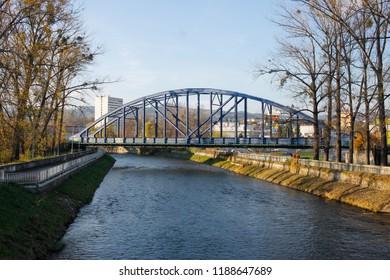 Banska Bystrica, Slovakia. November 4, 2017.Bridge across Hron river in Banska Bystrica, Slovakia
