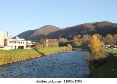 Banska Bystrica, Slovakia. November 4, 2017. Hron river in Banska Bystrica, Slovakia.