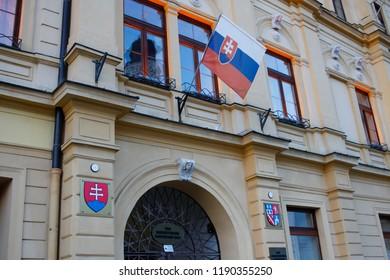 Banska Bystrica, Slovakia. November 4, 2017. City hall
