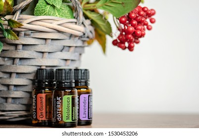 Banska Bystrica, Slovakia - October 6th 2019: High quality essential oils Doterra brand. On Guard, Melaleuca and Lavender essential oil. Healthcare and wellbeing concept. Autumn decoration background.