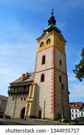 Banska Bystrica, Slovakia - September 14,2018: The old castle in the historical center in Banska Bystrica