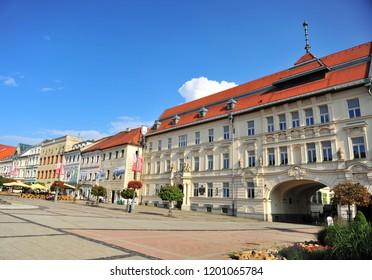 BANSKA BYSTRICA, SLOVAKIA - SEPTEMBER 5: View of central street of Banska Bystrica town, Slovakia on September 5, 2018.