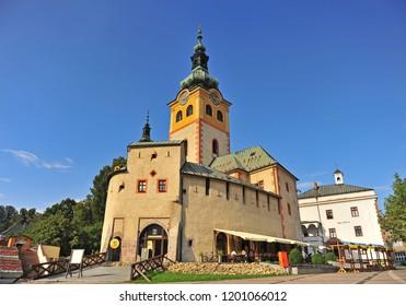 BANSKA BYSTRICA, SLOVAKIA - SEPTEMBER 5: Beautiful church and castle of Banska Bystrica town, Slovakia on September 5, 2018.