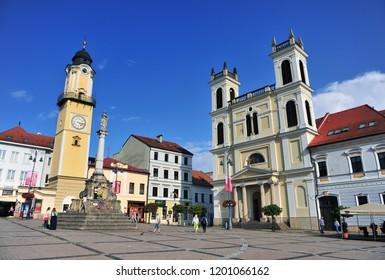 BANSKA BYSTRICA, SLOVAKIA - SEPTEMBER 5: View of main square of Banska Bystrica town, Slovakia on September 5, 2018.
