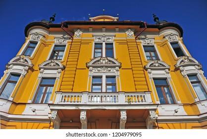 BANSKA BYSTRICA, SLOVAKIA - SEPTEMBER 5: Facade of historical building in centre of Banska Bystrica town, Slovakia on September 5, 2018.