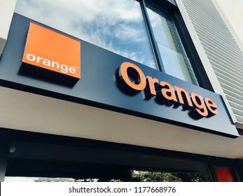 BANSKA BYSTRICA, SLOVAKIA - SEPTEMBER 7: Front store of Orange telecom in Slovakia on September 7, 2018.