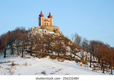 Banska Stiavnica - The baroque calvary built in years 1744 - 1751 in winter evening