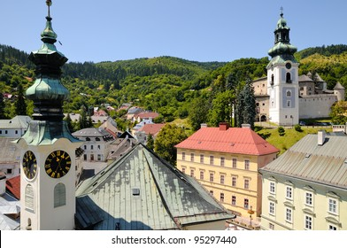 Banska Stiavnica City Hall and behind the Old castle