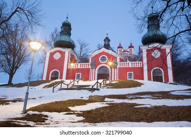 Banska Stiavnica - The lower church of baroque calvary built in years 1744 - 1751 in winter dusk.