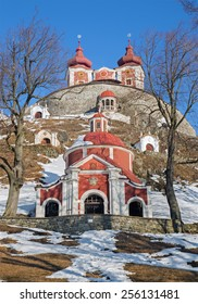 Banska Stiavnica - The middle and superior church baroque calvary built in years 1744 - 1751 in winter.