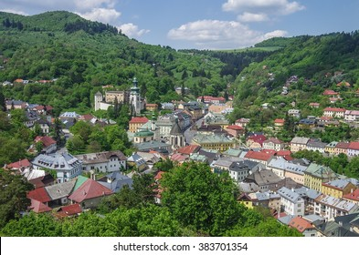 Banska Stiavnica panorama. Historical medieval mining town in Slovakia, with castle and cathedral. Unesco site.