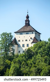 Banska Stiavnica, Slovakia - august 06, 2015: New castle  - built in 1571 building - called also Frauenberg - from the hill where is it built. Banska Stiavnica, Slovakia