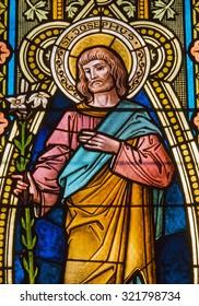 BANSKA STIAVNICA, SLOVAKIA - FEBRUARY 5, 2015: The St. Joseph on the windowpane in st. Elizabeth church from 19. cent.