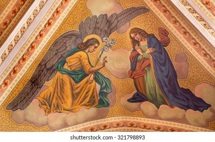 BANSKA STIAVNICA, SLOVAKIA - FEBRUARY 5, 2015: The Annunciation fresco on the ceiling of parish church from year 1910 by P. J. Kern.