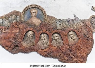 Banska Stiavnica, Slovakia - July 22 : sculpture of famous people of Banska Stiavnica on July 22, 2016 in Banska Stiavnica, Slovakia