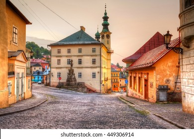 Banska Stiavnica, Slovakia - June 25, 2016: Town hall in the main square of the old town of Banska Stiavnica, Slovakia.