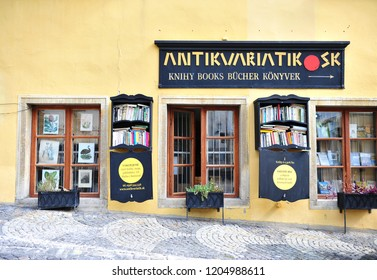 BANSKA STIAVNICA, SLOVAKIA - SEPTEMBER 14: Old fashioned book store in the street of Banska Stiavnica old town, Slovakia on September 14, 2018.