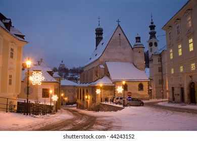Banska Stiavnica - Slovakia - unesco monument - Gothic church and New castle in morning