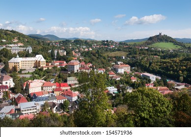 Banska Stiavnica town in Slovakia - historical center with calvary hill.