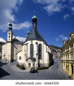 Banska Stiavnica, town-hall and st. Katharine church, Slovakia, UNESCO monument