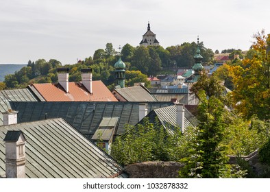 Banska Stiavnica townscape with New Castle in the background, Slovakia. UNESCO World Heritage Site.