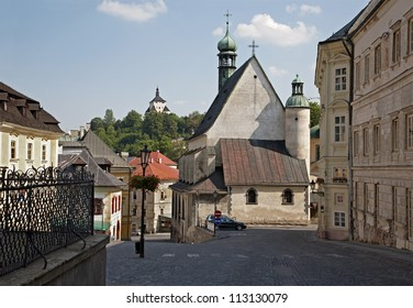 Banska Stiavnica - Trinity square st. Katharine church and New castle