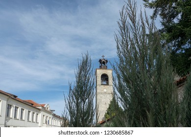 Bansko, Blagoevgrad / Bulgaria - November 1, 2018 - The Church of the Holy Trinity and part of city center