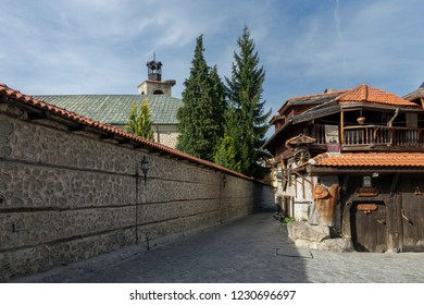 Bansko, Blagoevgrad / Bulgaria - November 1, 2018 - a small stone street in the old town
