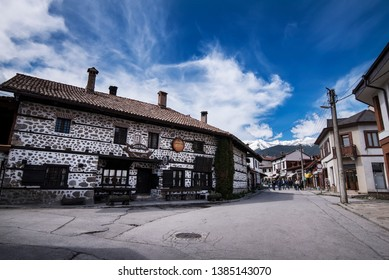 Bansko, Bulgaria - April 28, 2019. A street inside Bansko old town.