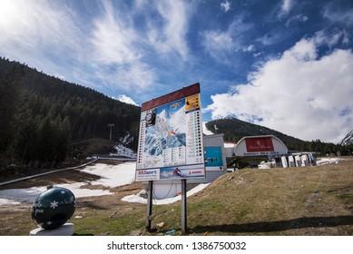Bansko, Bulgaria - April 29, 2019. Bansko Ski Resort during the spring.