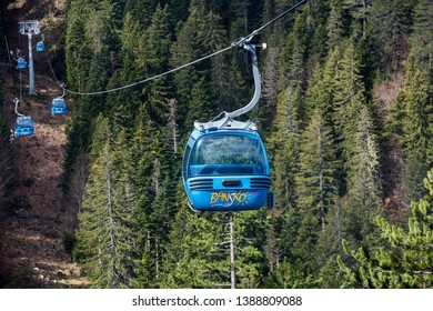 Bansko, Bulgaria - April 29, 2019. Cable Cars enroute from Bansko town to Bansko Ski Resort.