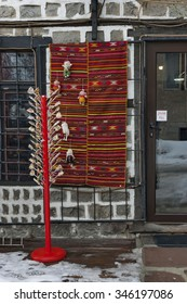Bansko, Bulgaria - February 04, 2012:Street sale of lollipop, traditional gift stock  in ancient Bansko town, Bulgaria . Visit of ancient town Bansko in winter.