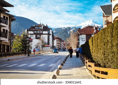 Bansko, Bulgaria - February 19, 2015: Street and mountain view in Bansko, Bulgaria