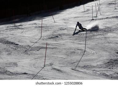 Bansko Bulgaria February 2015 A silhouette of a racer during a slalom run in the ski resort of Bansko