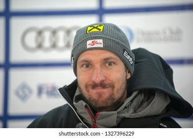 BANSKO, BULGARIA - FEBRUARY 22 : Marcel Hirscher (AUT) takes second place during the Audi FIS Alpine Ski World Cup Men's Alpine Combined on February 22, 2019 in Bansko, Bulgaria.