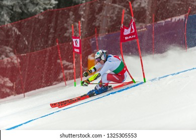 BANSKO, BULGARIA - FEBRUARY 24: Marco Odermat (SUI) competing in Audi FIS Alpine Ski World Cup Men's Giant Slalom on February 24, 2019 in Bansko, Bulgaria.