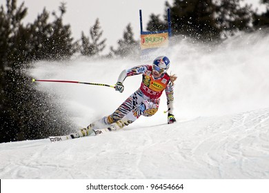 BANSKO, BULGARIA - FEBRUARY 26: Lindsey Vonn (USA) takes 1st place during the Audi FIS Alpine Ski World Cup Ladies' Super G on February 26, 2012 in Bansko, Bulgaria