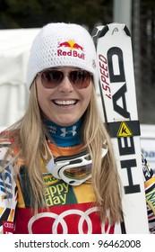 BANSKO, BULGARIA - FEBRUARY 26 :Lindsey Vonn (USA) takes 1st place during the Audi FIS Alpine Ski World Cup Ladies' Super G on February 26, 2012 in Bansko, Bulgaria