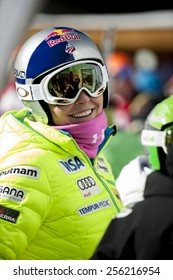 BANSKO, BULGARIA - FEBRUARY 26,2015 :Lindsey Vonn (USA) at the Audi FIS Alpine Ski World Cup Ladies' Super G on February 26,27,28, 2015 in Bansko, Bulgaria