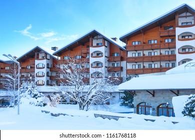 Bansko, Bulgaria - January 22, 2018: Kempinski hotel and winter slope in bulgarian ski resort
