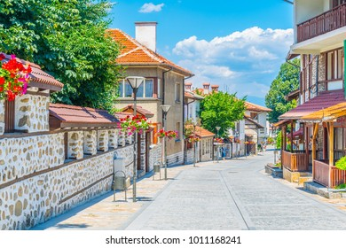 BANSKO, BULGARIA, JULY 13, 2017: View of a street in Bansko, Bulgaria.