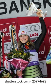 BANSKO, BULGARIA - MARCH 1 : Lindsey Vonn of the USA won the 6th women's World Cup super-G race. The American won her fourth straight super-G in 1 minute, 14.49 seconds.