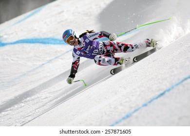 BANSKO, BULGARIA - MARCH  2, 2015: Elisabeth Goergl(AUT) competes in the Audi FIS Alpine Ski World Cup Ladies' Super G on MARCH  2 ,2015 in Bansko, Bulgaria