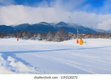 Bansko, Bulgaria winter ski resort with ski slope and mountains panoramic view
